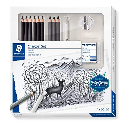 Staedtler Juego completo de carbón, con 3 lápices de carbón premium, 5 lápices de artista, 1 borrador de papel, 1 borrador de artista, 1 sacapuntas e instrucciones paso a paso, 61 100 C
