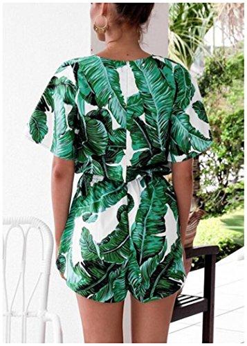 Odosalii Women's V Neck Floral Leaves Jumpsuit Tassel Elastic Waist Playsuit Loose Short Romper
