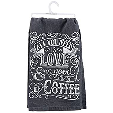 Primitives By Kathy Cup of Coffee Dish Towel, Black, 28  Square