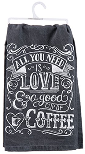 """Primitives by Kathy Cup of Coffee Dish Towel, Black, 28"""" Square"""