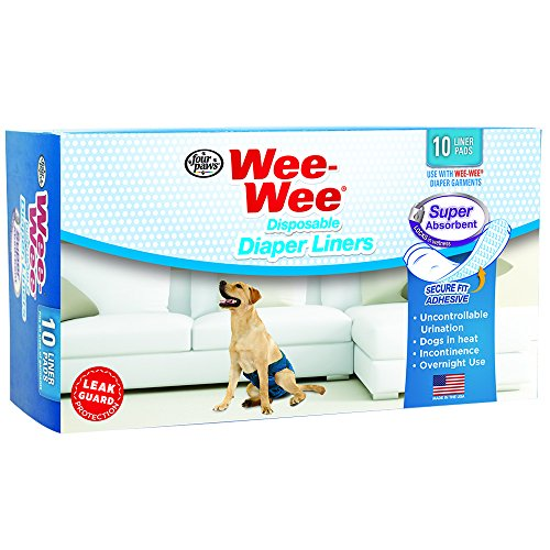 Wee-Wee Products Disposable Dog Diaper Super Absorbent Liners (10 Pack), 2.75' x 8.25' x 4.5'