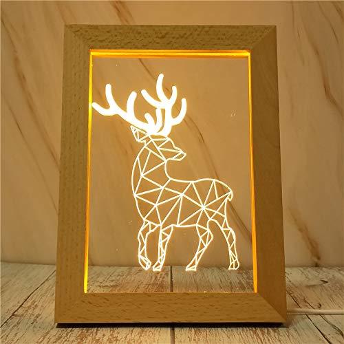 Wandlamp hert Sika met houten frame en studiolamp Tricolore Rosso, Blu E Viola