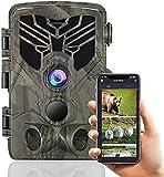 Cámara Caza WiFi Bluetooth 24mp 1296p, Camara Trampa de Caza Nocturna Impermeable IP66, Gran Angular de 120° y Detección de Movimiento 80Ft, Velocidad 0.2s, App Control Envio de Imagenes a Movil