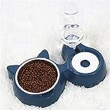 Comedero y Bebedero Automático para Gatos y Perros,2 en 1,Cuencos Doble para Mascotas,Alimentador De Agua para Mascotas,Cuenco De Alimentación para Mascotas (Azul)