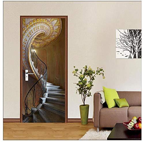 3D Spiral Stair Door Mural Wallpaper, Wandbild Wall Deco, Wandbild Photo Self Adhesive Door Wrap