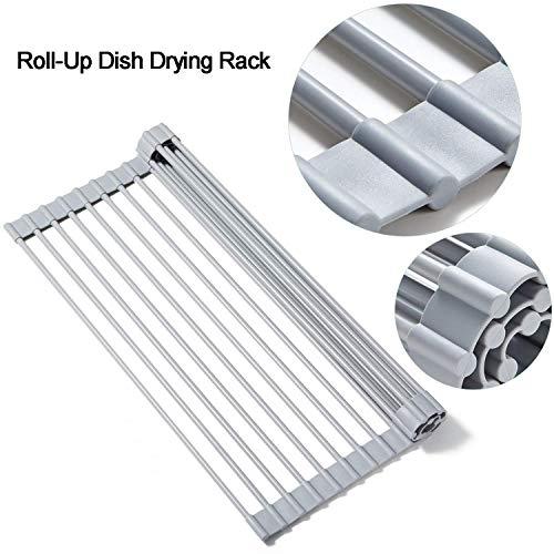 Nologo Roll-up-Wannen-Teller-Wäschetrockner Küche Organizer Edelstahl-Wannen-Küche-Werkzeuge Küche Storage Zubehör ablassen (Size : 52 * 33cm)