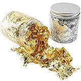Copos de Hoja de Oro, 2 latas Copos de Papel de Plata Aluminio Decoración de Uñas Láminas de Hoja de Oro Metálico para Pintar Resina Artesanía Decoraciones de uñas DIY Decoraciones Artísticas