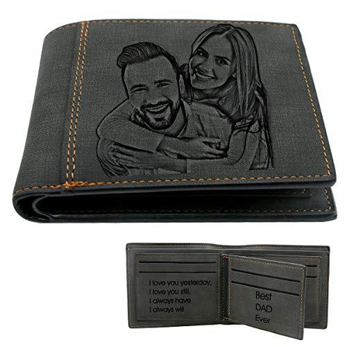 Portemonnaie Herren, Geldbörsen für Männer,Personalisiert Foto Geldbörse mit Gravur,Personalisiert Weihnachten Geschenk für Männer