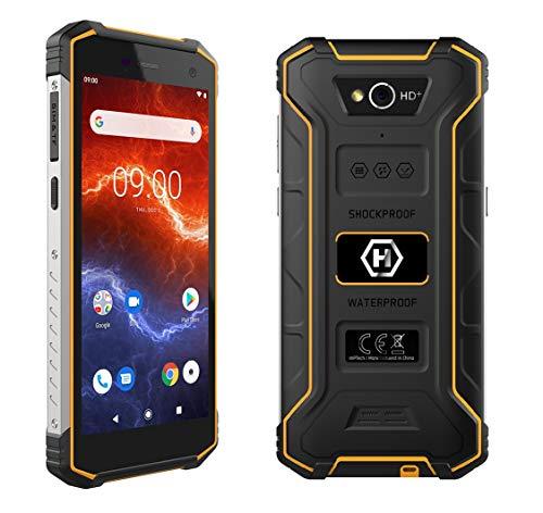 """HAMMER Energy 2 Outdoor Handy 5,5"""" HD+ IPS, 5000mAh Mega-Akku mit Schnellladen, IP68, IK05, LTE, Smartphone Wasserdicht, Quadcore 2Ghz, 3GB + 32GB, NFC, Baustellenhandy Dual SIM, Android 9, 4G Orange"""