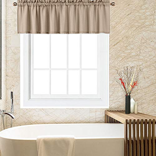 Valances for Kitchen, Waffle Woven Half Window Valance Curtains for Bathroom Windows Short Cafe Curtains, Plaza Taupe, 60x15 Inch
