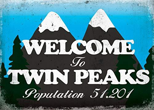 Welcome To Twin Peaks Póster de Pared Metal Creativo Placa Decorativa Cartel de Chapa Placas Vintage Decoración Pared Arte Muestra para Bar Club Café