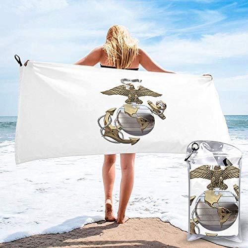 US Marine Corps Toalla de baño, Toalla de Gimnasio, Toalla de Playa, Súper Absorbente, Microfibra Suave de Secado rápido, Ligero-Blanco-27.5 'x55
