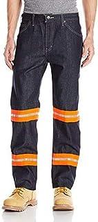 Dickies Men's Big Enhanced Visibility Regular Fit Jean Non-Ansi, Indigo Orange Tape, 50 Unhemmed