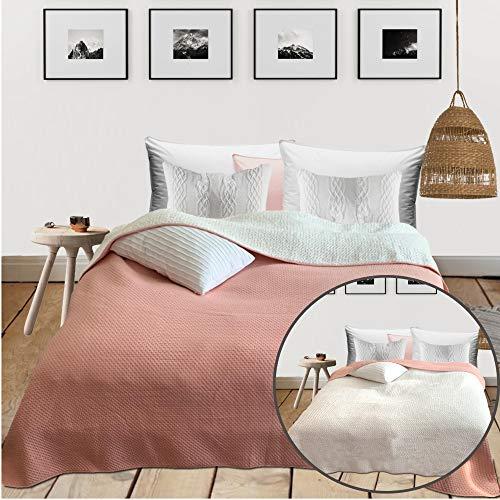 HOMELEVEL Tagesdecke Bett & Sofaüberwurf 220cm x 200cm Bettüberwurf Sofa Tages Decken Betthusse XXL Decke Überwurf Altrose/Sherpa