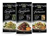 Pasta orgánica de edamame y judías negras de Planet Plant-Based (pack de 3 × 200 g) | Espaguetis de edamame | Espaguetis de judías negras | Fettuccine de edamame | Vegano | Orgánico | Sin gluten