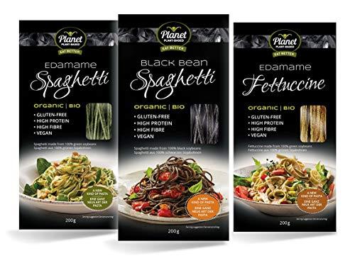 Pasta Orgánica Planet Plant-Based a Base De Plantas Con Proteínas, Pack de 3 (3 x 200g), Spaghetti Edamame, Spaghetti Frijoles Negros, Fettuccine Edamame. Fideos 100% de Soja. Gluten-Free. Vegano.