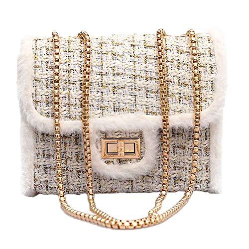 HCFKJ👜 Tasche, Weiblicher Kette Square Bag Casual Samt Umhängetasche Lock Diagonal Cross Bag (WH)