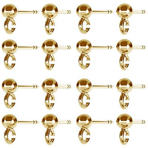DIY925 10 pares de pendientes de bola de plata de ley 925, chapado en oro de 24 quilates, joyería en bruto, para hacer joyas