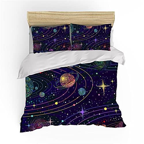 QXbecky Ropa de Cama Galaxy Universe Color Edredón Funda de Almohada Juego de 2~3 Piezas Microfibra Suave Cepillado Transpirable 260x220cm