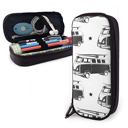 Pencils Pens Pouch Retro Bus mit Surf Cute Pen Pencil Case Leder 8 x 3,5 x 1,5 Zoll Pouch Bag Pencil...