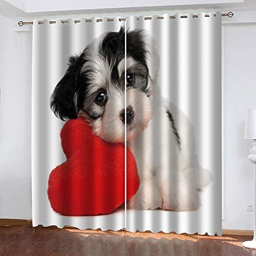 MXYHDZ Cortinas Opacas de Salon - Cachorro en forma de corazón rojo Impresión 3D, Dormitorio Aislantes Termicas con Ollaos - 200 x 160 cm para Oficina y salón, Dormitorio habitación de los niños, 2 Pi