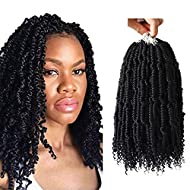 Crochet Spring Twist Hair Pretwisted 14 inch Bomb Twist Fluffy Spring Twist Crochet Hair Pre looped 4 packs Synthetic Hair Extension by Flyteng …
