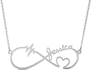 Personalized 925 Sterling Silver Heartbeat Infinity Pendant Custom Name Necklace