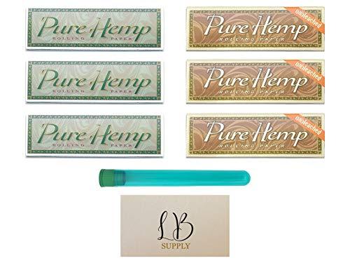 LB Supply – Pure Hemp 1 1/4 Starter Bundle – Pure Hemp Papers (6 Pack) – With LB Supply Scoop Card & Original Doob Tube…