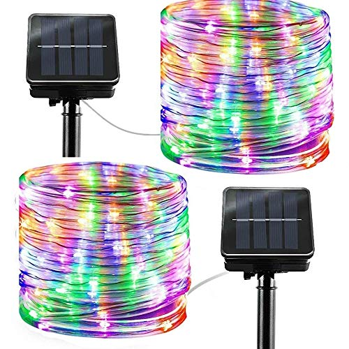 LiyuanQ Solar String Lights Outdoor Rope Lights, 2 Pack 8 Modes 100 LED Solar Powered Outdoor Waterproof Tube Light Copper Wire Fairy Lights for Garden Fence Yard Party Wedding Decor (Multi Color)