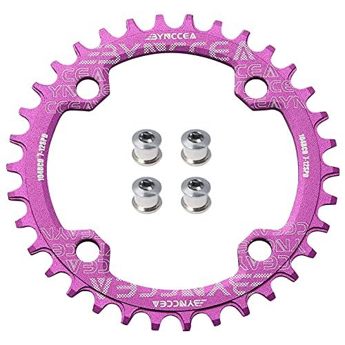 Bynccea Plato redondo 104 BCD 32T 34T 36T 38T estrecho anillo de cadena ancho único con 4 tornillos de rueda dentada 8 9 10 11 12 velocidades para bicicletas de carretera, MTB BMX