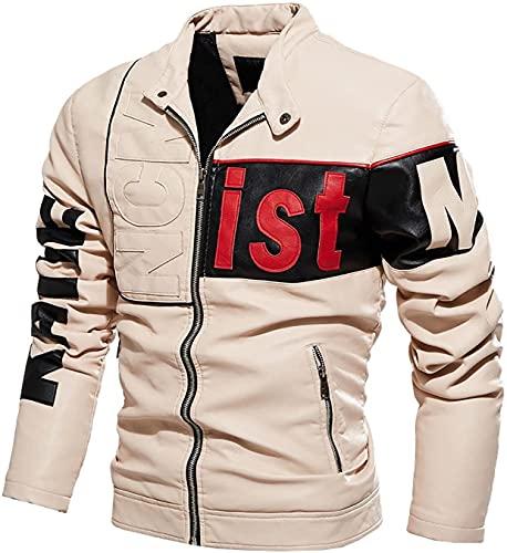 LILIXINGSH Chaquetas de Moto Chaqueta de Cuero Hombre Slim Fit Stand Colllar Bomber Chaqueta con Forro de vellón Abrigos de Motor Ligero (Color : White, Size : XL-Xlarge)