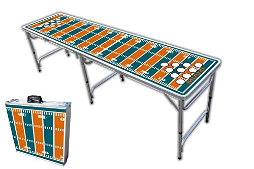 Great Price! 8-Foot Professional Beer Pong Table w/Holes - Miami Football Field Graphic