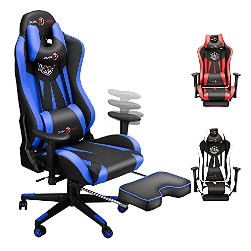 Ergonomic Gaming Chair with Footrest, Video Game...