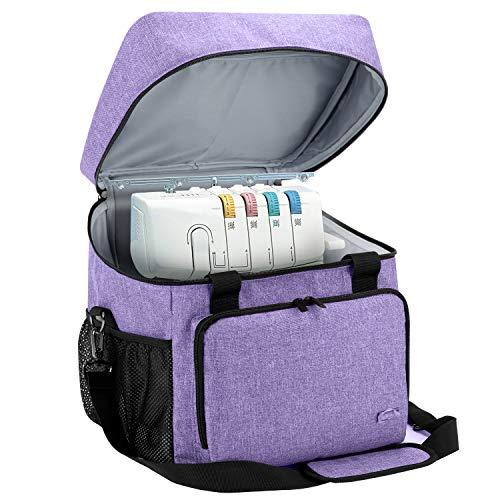Luxja Overlock Tasche für Overlock Maschinen, Overlocktasche für Aufbewahrung Overlock-Nähmaschinen, Coverlocktasche für Transport Overlockmaschine und Zubehör, 33CM x 30,5CM x 34CM, Lila