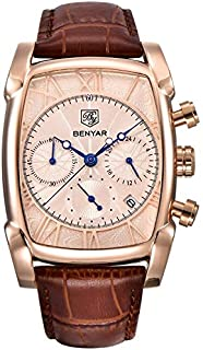 BENYAR Luxury Chronograph Men's Watch (Gold Dial, Gold Colored Strap)