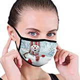 Nisdsgd Mundschutz Mund Anti-Staub-Abdeckung Mode,Smiling 3D Style Mascot with Hat and Scarf Snowy...