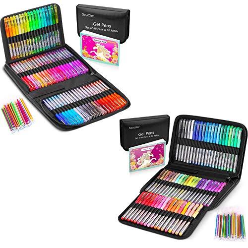 122 Pack Gel Pens Set & 122 Glitter Gel Pens Set for Adult Coloring Book