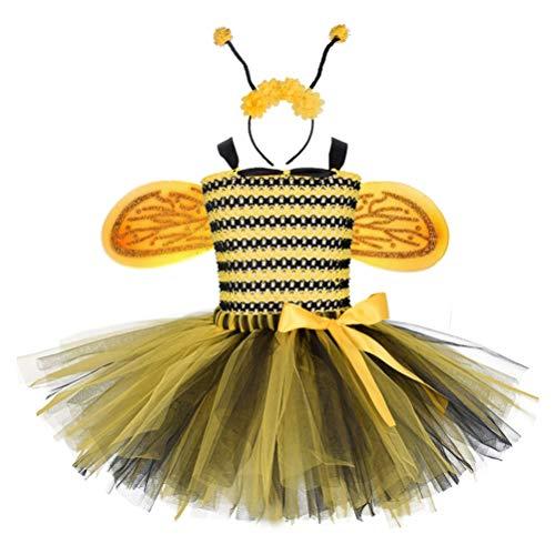 LUOEM Disfraz de Bailarina Abeja para Niñas Talla 3T a 4T Princesa Disfraces Incluye Una Diadema de Alas de Tutú