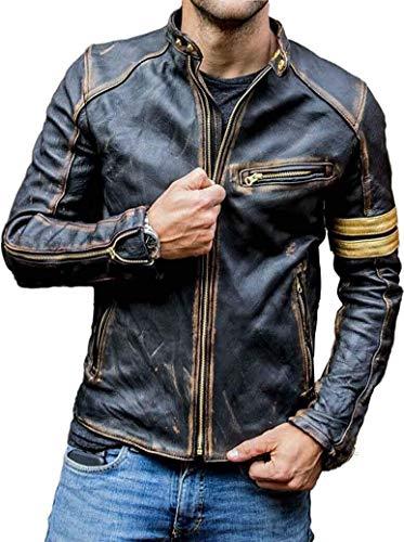 Giacca da uomo in vera pelle da motociclista, stile vintage, da uomo, giacca da uomo, giacca trapuntata Nero - Giacca in vera pelle da uomo M