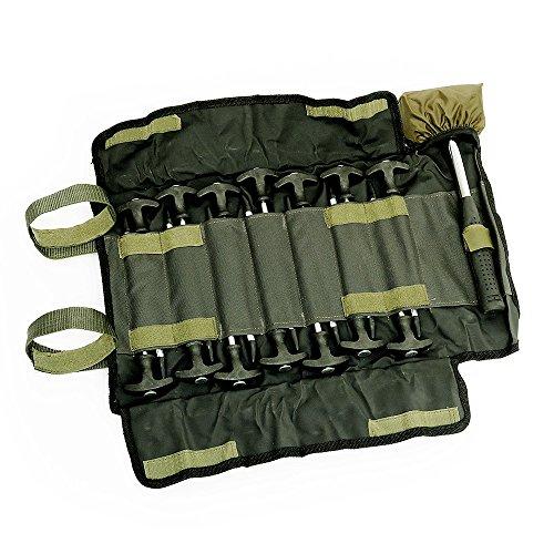 Lucx® Heringe-Set 14-TLG. inkl. Gummihammer und Tasch für Bivvy Erdnägel Zeltnägel für Angelzelte T - Pegs für Karpfenzelte