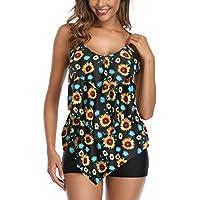 Aidotop Traje de Baño en Dos Piezas Sexy Mujer Tankini Vest Short de Baño Traje para el Mar Playa Piscina Fiesta Vacaciones (Sunflower, M)