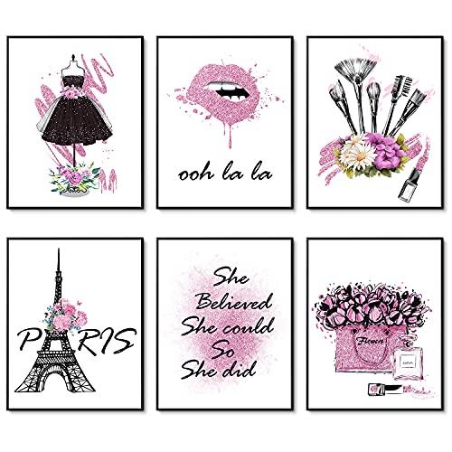 Wandkunst für Mädchen, 6 Stück, Paris, Parfüm, Blume, Lippenstift, Leinwandkunst, Wanddekoration für Schlafzimmer (27,9 x 35,6 cm, ungerahmt, verträumtes Rosa)