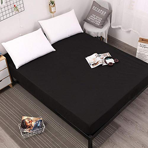 UKUCI 100% Polyester solid color elastic sheet easy care and clean fitted sheet for bed mattress protector,Black,80X200X25cm