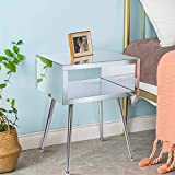 SSLine Mirrored Side Table Modern Elegant Bedside Night Stand Silver Acrylic Mirror Finish Chairside Accent Table with Shiny Top Open Shelf & Stainless Steel Legs - 17.91' W x 15.16' D x 23.22' H
