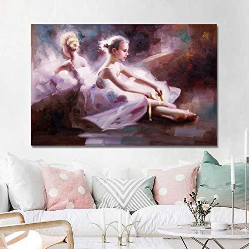 Geiqianjiumai posters en kunstdrukken op canvas Modern abstract olieverfschilderij Ballerina woonkamer decoratief schilderwerk zonder lijst