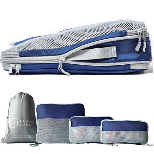 TRAVEL DUDE Packwürfel Set mit Kompression aus recycelten Plastikflaschen | Leichte Packing Cubes | Packtaschen Set & Gepäck Organizer für Rucksack & Koffer | Kleidertaschen (Marineblau, 4-teilig)