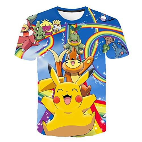 SJZCTxu T-Shirt Kinder Kurzarm Detektiv Pikachu 3D-Druck Atmungsaktiver Komfort,140