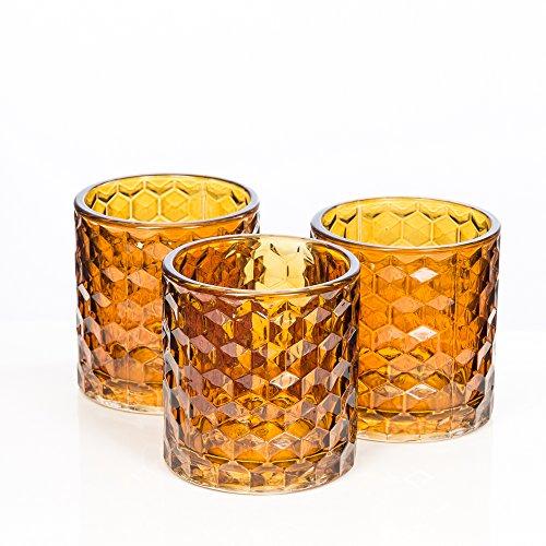 Richland Amber Chunky Honeycomb Glass Votive & Tealight Candle Holder Set of 6