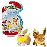 Pokémon Chiffres de Bataille 2-Pack Évoli & Voltoutou | Figurine 5 Cm | Nouvelle Vague 2021 | sous Licence Officielle Pokemon