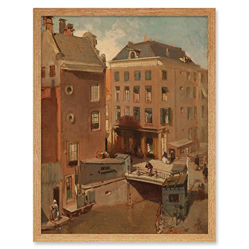 Rochussen Osjessluis dichtbij Kalverstraat Amsterdam Art Print ingelijste poster wanddecoratie 12x16 inch